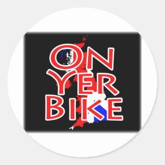 Union Jack Flag On Map Of Britain - On Yer Bike Classic Round Sticker