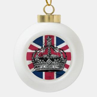 Union Jack Flag Queen of England Diamond Jubilee Ceramic Ball Christmas Ornament