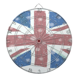 Union Jack Flag Snowflakes Dartboard