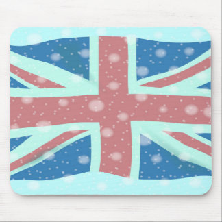 Union Jack Flag Snowflakes Mouse Pad