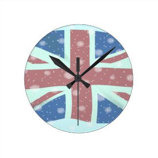 Union Jack Flag Snowflakes Round Clock