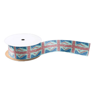 Union Jack Flag Snowflakes Satin Ribbon