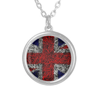 Union jack flag uk patriotic silver plated necklace