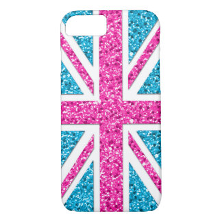 Union Jack Girly Glitter Look iPhone 8/7 Case