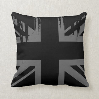 Union Jack (grunge silver UK flag) Throw Pillows