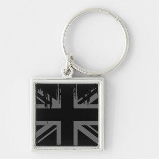 Union Jack (grunge silver UK flag) Keychains