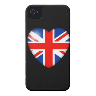 Union Jack Heart on Black iPhone 4 Case-Mate Cases
