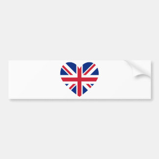 Union Jack Heart Shape Bumper Stickers