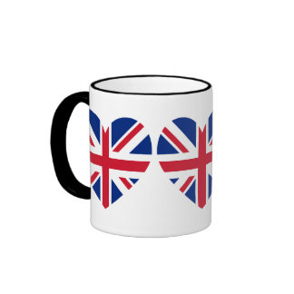 Union Jack Heart Shape Ringer Mug