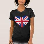 Union Jack Heart Shape T Shirts