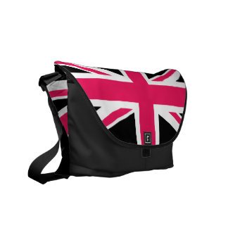 Union Jack ~ Hot Pink Black and White Messenger Bag