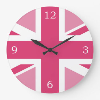 Union Jack ~ In Girly Pinks Large Clock