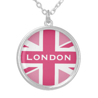 Union Jack ~ In Girly Pinks Silver Plated Necklace