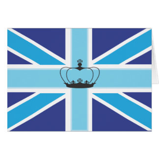 Union Jack in shades of blue with crown Card