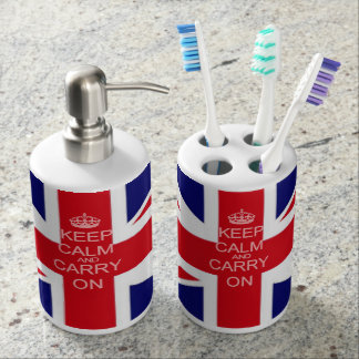 Union Jack Keep calm and carry on Soap Dispenser And Toothbrush Holder