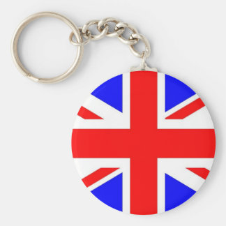 UNION JACK KEYRING/FOB BASIC ROUND BUTTON KEY RING