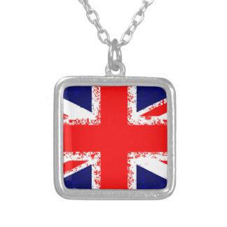 Union jack london flag uk silver plated necklace
