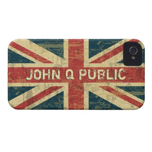 Union Jack Name Template iPhone 4 Case-Mate Case