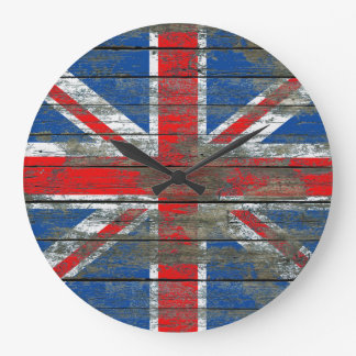 Union Jack on Rough Wood Boards Effect Wallclocks