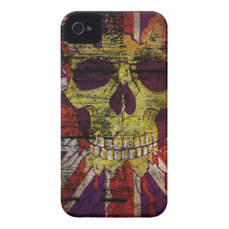Union Jack Patriotic Skull On Gunge Wall Flag Case-Mate iPhone 4 Cases