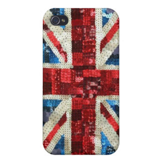 Union Jack sequin bling UK English flag iPhone Cover For iPhone 4