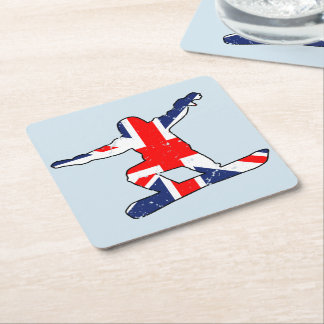 Union Jack SNOWBOARDER (blk) Square Paper Coaster