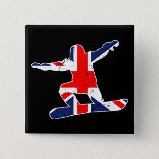 Union Jack SNOWBOARDER (wht) 15 Cm Square Badge