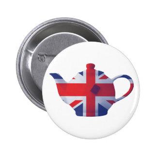 Union Jack Teapot 6 Cm Round Badge