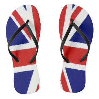 Union Jack, UK flag, banner, watercolor painting Thongs