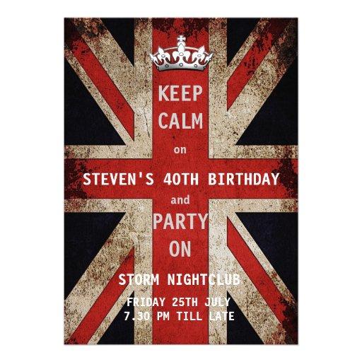 Union Jack UK Flag Birthday Party Cards