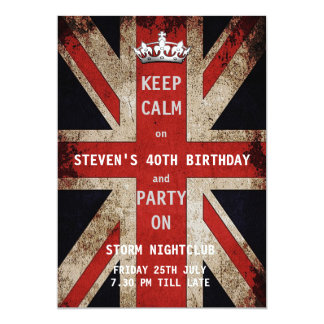"Union Jack UK Flag Birthday Party 5"" X 7"" Invitation Card"