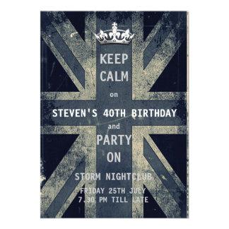 Union Jack UK Flag Birthday Party Personalised Invitations