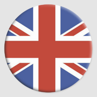 Union Jack UK Flag Circle Designs. Classic Round Sticker