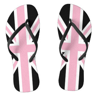 Union Jack UK Patriotic Flag Pink Black White Thongs