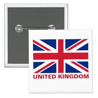 Union Jack United Kingdom Flag Red Text 15 Cm Square Badge
