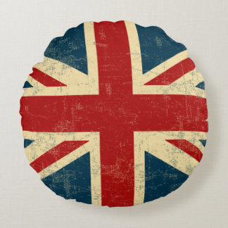 Union Jack Vintage Faded Round Pillow