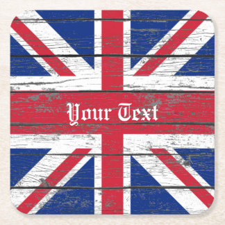 Union Jack Weathered Wood Personalize Square Paper Coaster