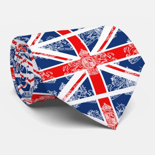 Union Jack & White Coat of Arms British Tie
