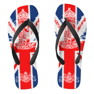 Union Jack White Dieu Mon Droit British Coat Arms Thongs