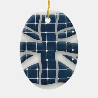 Union Jack with photovoltaic solar panels. Ceramic Ornament