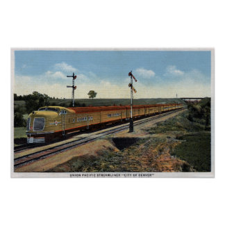 "Union Pacific Streamliner ""City of Denver"" Poster"
