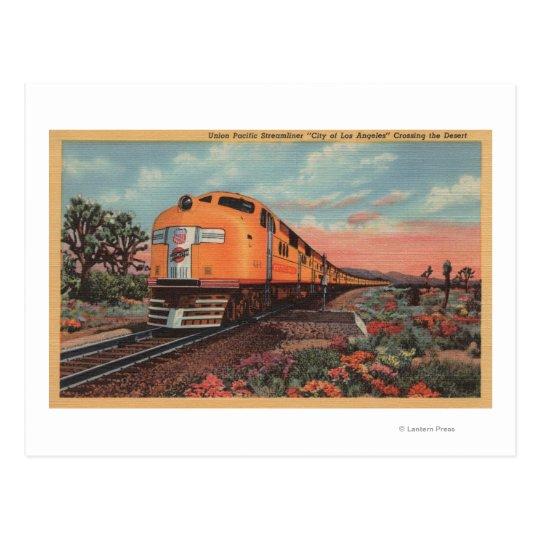 Union Pacific Train, City of L.A. Postcard