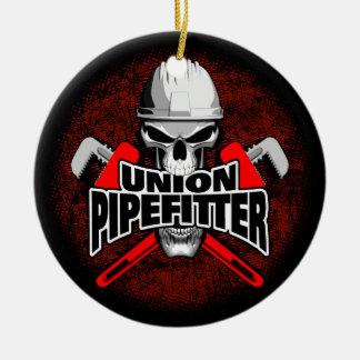 Union Pipefitter Skull Ceramic Ornament