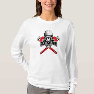 Union Plumber: Skull and Pipe Wrenches T-Shirt