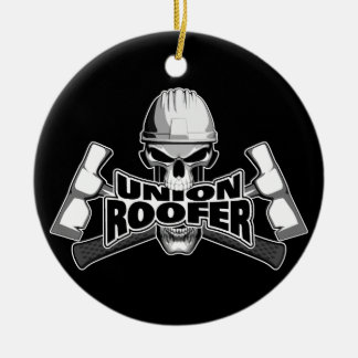Union Roofer: Skull and Hammers Round Ceramic Decoration