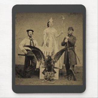 Union Soldier, Sailor, and Lady Liberty Civil War Mouse Pad