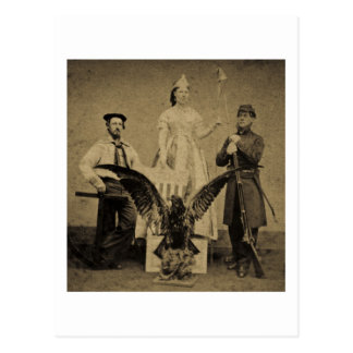 Union Soldier, Sailor, and Lady Liberty Civil War Postcards