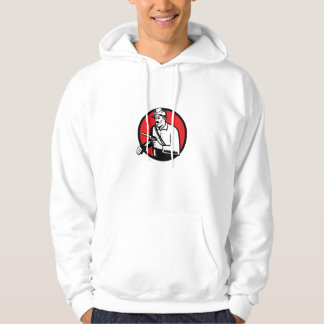 Union Soldier With Pistol Circle Woodcut Hoodie