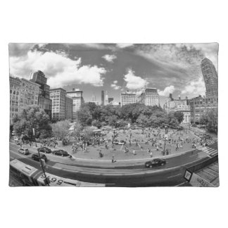 Union Square NYC From Above, B&W, Fish Eye View Placemat