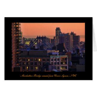 Union Square view of Manhattan Bridge Pink Sky Greeting Cards